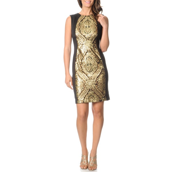 R & M Richards Women's Black/ Gold Sequin Panel Dress