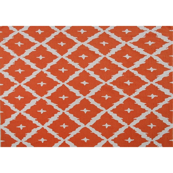 Hand-hooked Tangier Orange Area Rug (7' x 10') - 7' x 10'