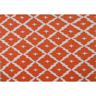 Hand-hooked Tangier Orange Area Rug (7' x 10')