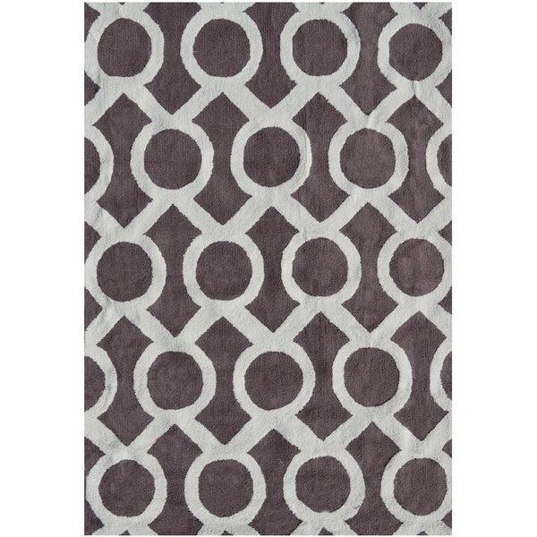 Medal Taupe and Off White Hi/Low Hook Rug (5' x 7')