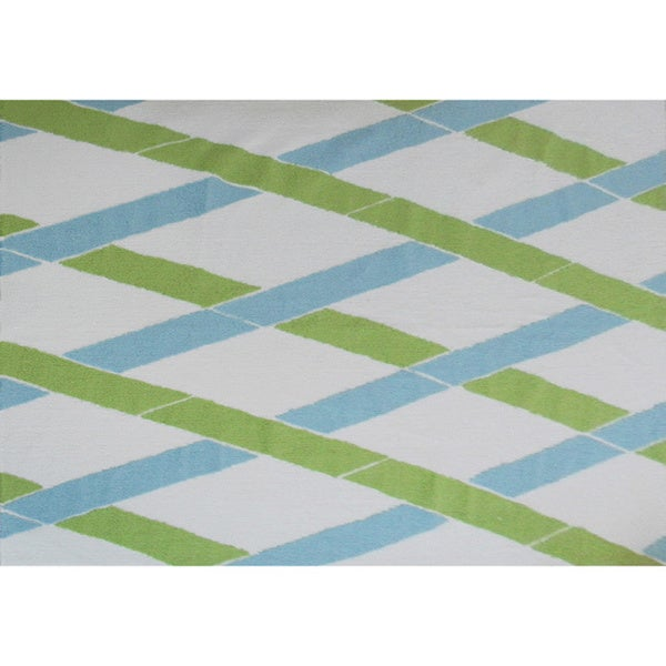 Hand-hooked Bamboo-inspired White/ Multi Area Rug - 7' x 10'