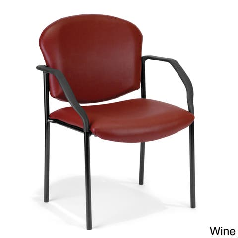 OFM Manor Series Guest Chair with Arms, Anti-Microbial Vinyl (404-VAM)