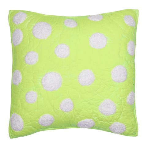 Cottage Home Lime Green Dot Cotton 16 Inch Throw Pillow
