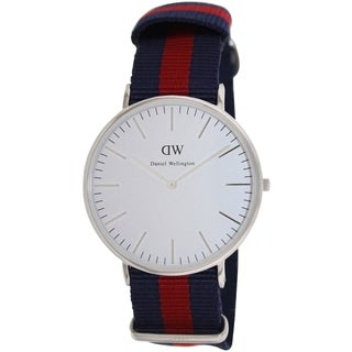 Daniel Wellington Men's 'Oxford' White Dial Cloth Strap Quartz Watch