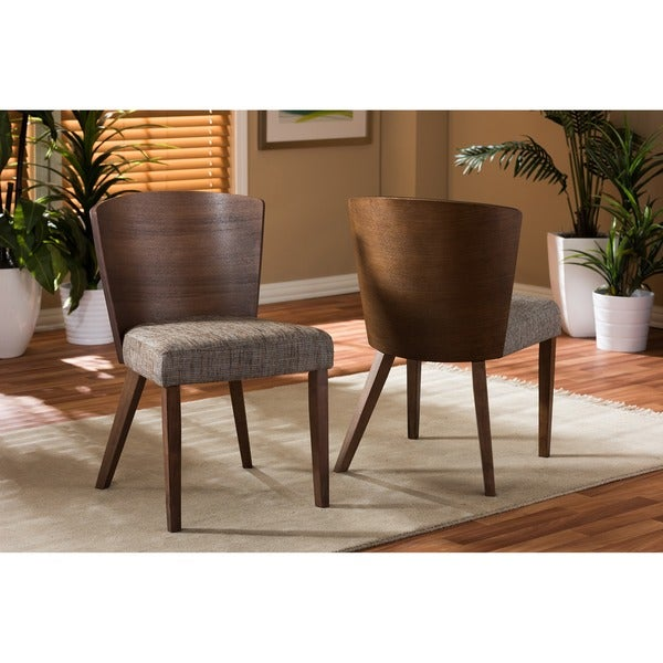 Baxton Studio Sparrow Modern Brown Wood And Gravel Fabric