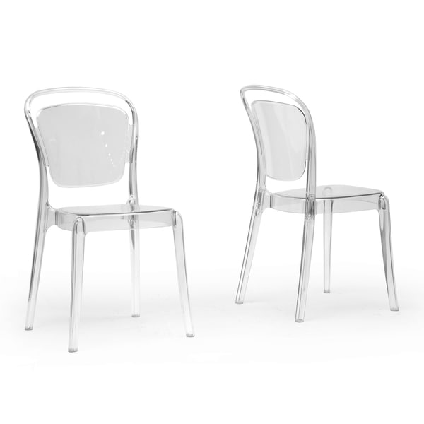 Baxton studio ingram clear plastic stackable modern dining for Plastic modern chairs