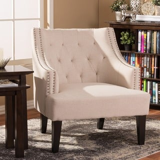 Baxton Studio Millicent Beige Linen Arm Chair