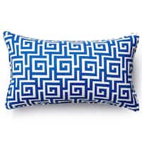 Handmade Blue Puzzle Outdoor Throw Pillow (United States)