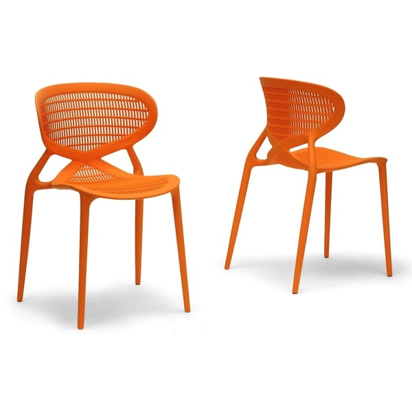 Baxton Studio Neo Orange Plastic Modern Dining Chairs Set