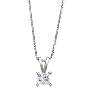 Montebello 14k White Gold 1/4ct TDW Princess-cut Diamond Solitaire Necklace