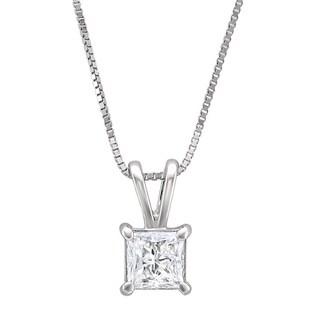 Montebello 14k White Gold 1/2ct TDW Princess-cut Diamond Solitaire Necklace