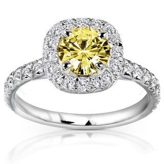 Annello by Kobelli 14k Yellow or White Gold Yellow Moissanite and 2/5ct TDW Diamond Engagement Ring