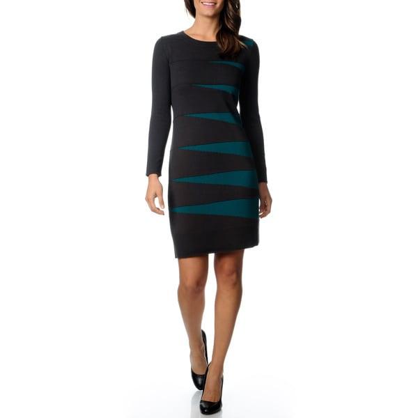 Lennie for Nina Leonard Women's Geo Metric Colorblock Sweater Dress