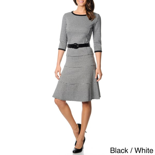 Lennie for Nina Leonard Women's Houndstooth Belted Sweater Dress