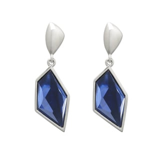 Silvertone Montana Blue Resin Geometric Earrings