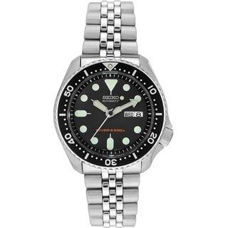 Seiko Men's 5 Automatic SKX007K2 Silver Stainless Steel Automatic Watch with Black Dial
