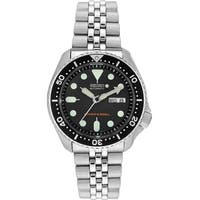Seiko Men's SKX007K2 'Diver' Day and Date Black Stainless Steel Watch