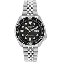 Seiko Men's  'Diver' Day and Date Black Stainless Steel Watch