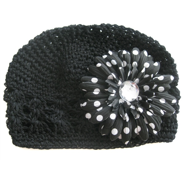 Black Crocheted Tyra Polka Dot Hat