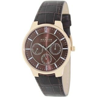 Skagen Men's 331XLRLD Brown Leather Analog Quartz Watch with Brown Dial