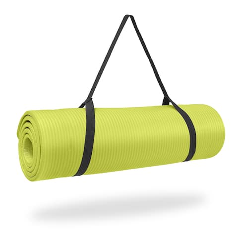 Pure Fitness 1/ inch Ultra Thick NBR Exercise Mat - Lime - 68x24