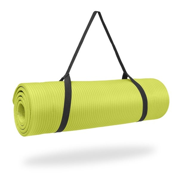 Pure Fitness 12mm High Density NBR Exercise Mat - Lime - 68x24