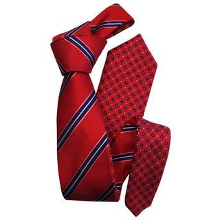 Dmitry Men's Red and Navy Patterned Double-sided Italian Silk Tie