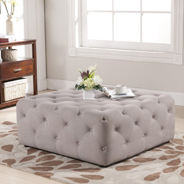 baxton studio teague beige linen modern tufted ottoman - Tufted Ottoman Coffee Table