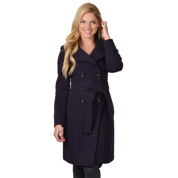 Calvin Klein Women's Double Breasted Belted Wool Coat