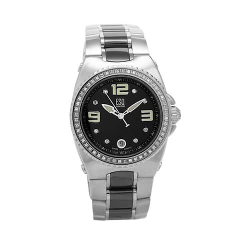 ESQ by Movado Women's 'Bali' Stainless Steel and Ceramic Diamond Accent Watch