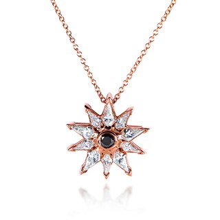 Annello by Kobelli 10k Rose Gold 3/4ct TDW Black and White Diamond Kite-cut 10-Pointed Star Necklace