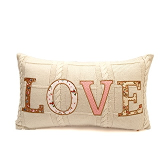 Love' Oblique Patchwork Poly-filled Throw Pillow