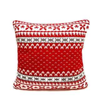 Red/ Cream Fair Isle Knitted Polyester Filled Pillow