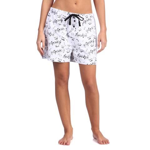 Leisureland Women's Music Notes Cotton Flannel Boxer Shorts