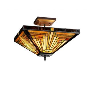 Chloe Tiffany Style Mission Design 2-light Bronze Flush Mount