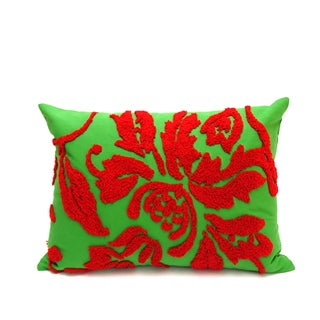Red and Green Feather Filled Accent Pillow