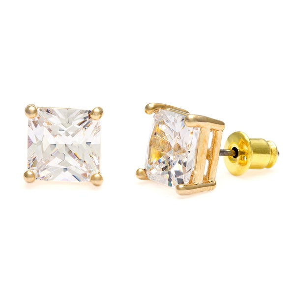 Simon Frank Designs Princess -cut 8mm Cubic Zirconia Stud Earrings with Crystal Gift Box
