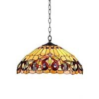 Chloe Tiffany Style Victorian Design 2-light Bronze Pendant