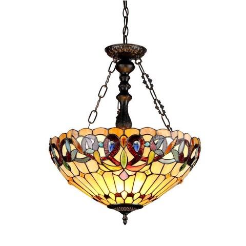 Copper Grove Cardrona Tiffany Style Victorian Design 3-light Inverted Pendant