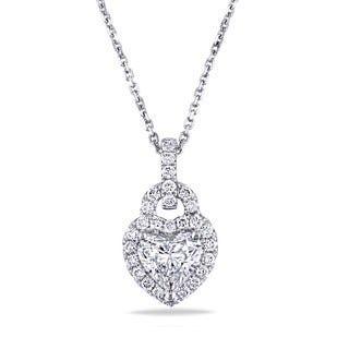 Miadora Signature Collection 14k White Gold 1 7/8ct TDW Diamond Heart Necklace (G-H, I1-I2)