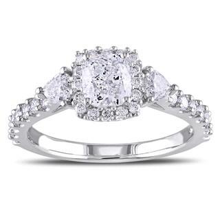Miadora Signature Collection 14k White Gold 1 3/8ct TDW Cushion Cut Diamond Ring (G-H, I1-I2)