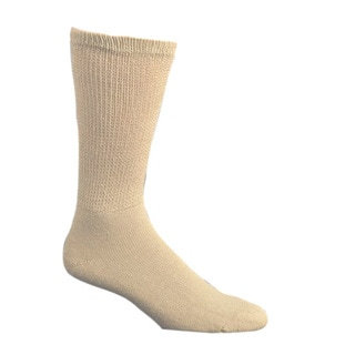 Men's Comfortable Diabetic Crew Socks Tan Long (Pack of 3)