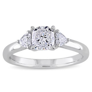 Miadora Signature Collection 14k Gold 1ct TDW Cushion with Heart Side Stones Diamond Ring