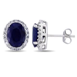 Miadora 14k White Gold Oval-cut Sapphire and 2/5ct TDW Diamond Halo Stud Earrings (G-H, I1-I2)
