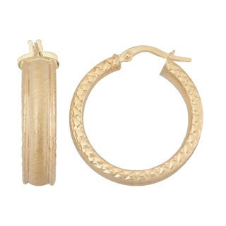 Gioelli 14k Yellow Gold Oval Textured Diamond-cut Hoop Earrings
