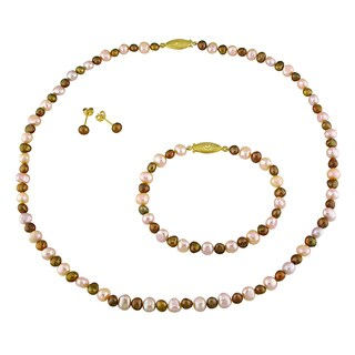 Miadora Goldtone Cultured Freshwater Pearl Bead Necklace Bracelet and Earrings Set