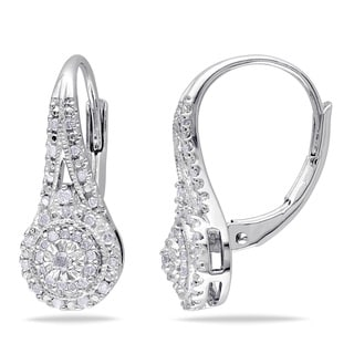 Miadora Sterling Silver 1/4ct TDW Diamond Halo Leverback Earrings (H-I, I2-I3)
