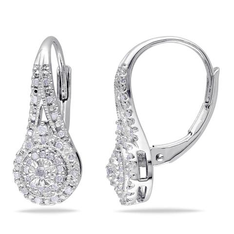 Miadora Sterling Silver 1/4ct TDW Diamond Halo Leverback Earrings