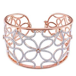 Miadora Signature Collection 14k Rose Gold 3 3/5ct TDW Diamond Bangle Bracelet