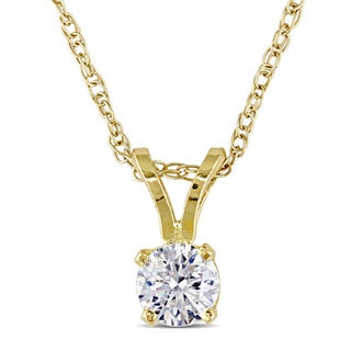 Miadora 14k White Gold 1/ 4ct TDW Diamond Solitaire Drop Necklace